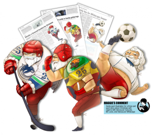 Santa sport illustration for the Newspaper Vancouver Sun in 2011 by Maggie Wong