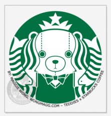 a spoof of the Starbucks logo, Teddies x Starbucks Coffee